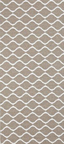 Horredsmattan Kunstfaser Teppich und Haus und Garten, waschbar. Design Wave beige (70 x 200 cm)