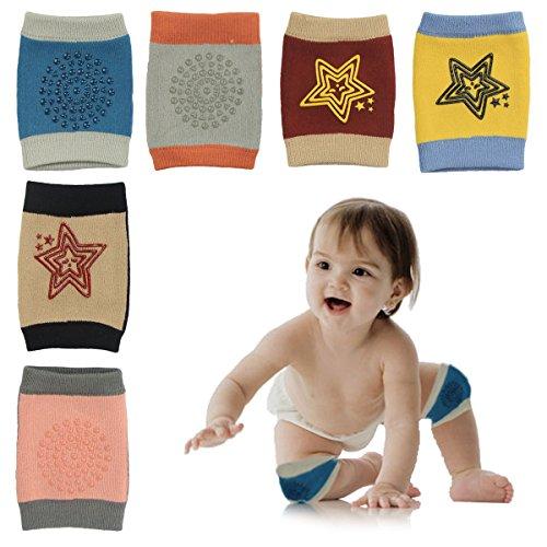 HBselect 6 Paar Baby Stulpen Knieschoner Krabbelschoner mit Gummipunkte anti-Rutsch Knieschützer für Junge und Mädchen 0-2 Jahre