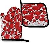 N\A Red Heart Love Kitchen Oven Mitt Pot Holder Set, Soportes de Guantes Antideslizantes Resistentes al Calor para Barbacoa Cocinar Hornear Parrilla Microondas