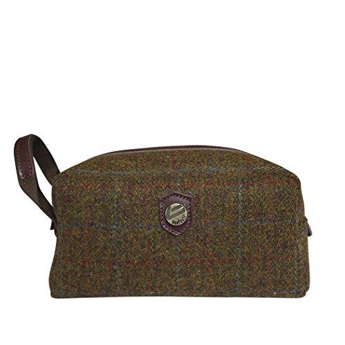 Bonfanti Harris Tweed e borsa da toilette in pelle italiana, sacchetto della lavata. Tartan (marrone multipla)