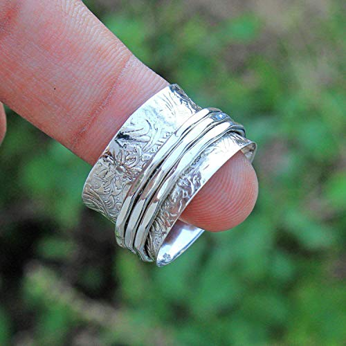 Anillos de plata de banda ancha para mujer,Floral Texture Spinning Band Rings, Anxiety Ring for Meditaion, Gift Ring for Christmas, 925 Sterling Silver Spinner Band Rings for Women