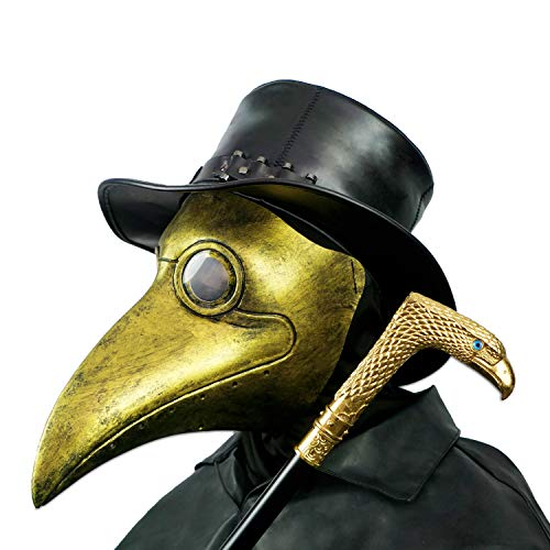 PartyHop Pest Doctor Mask, Golden Bird Beak Steampunk Gas Costume, für Kinder und Erwachsene