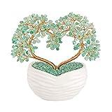 jsdde gioielli feng shui, albero della vita, con vaso in ceramica, pietra curativa portafortuna, casa, tavolo, ufficio, decorazione (avventurina)