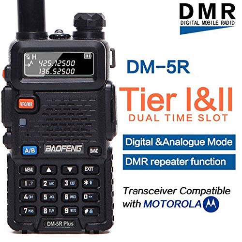 BaoFeng DM-5R Plus DMR Dual Band (136-174MHz VHF & 400-480MHz UHF) Dual Time Slot Digital (DMR and Analog) Two-Way Radio Compatible with MOTOTRBO with A USB Programming Cable