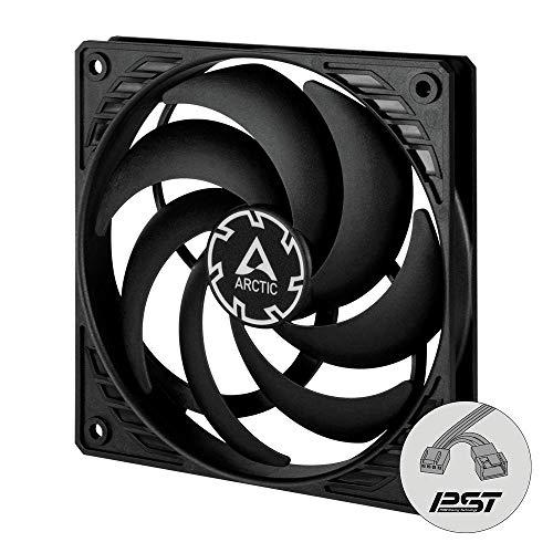 ARCTIC P12 Slim PWM PST - 120 mm PWM PST Gehäuselüfter optimiert für statischen Druck, Case Fan mit PST-Anschluss (PWM Sharing Technology), besonders schmal - Schwarz, ACFAN00187A
