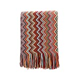 Battilo Bohemian Knit Throw Blanket with Fringe Super Soft Knitted Blanket for Couch, Sofa, Bed, Chair 60' x 50' (Dust Red)