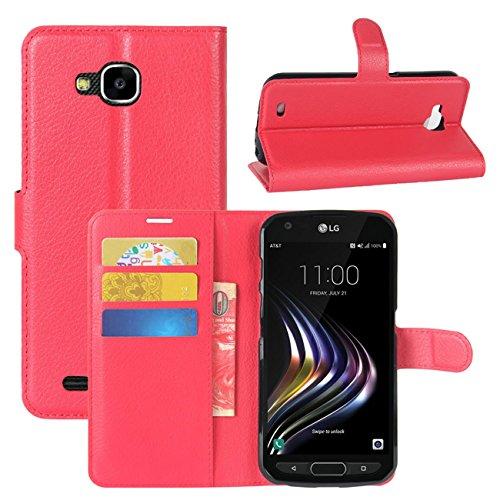 HualuBro LG X Venture Hülle, [All Aro& Schutz] Premium PU Leder Leather Wallet HandyHülle Tasche Schutzhülle Flip Hülle Cover mit Karten Slot für LG X Venture Smartphone (Rot)