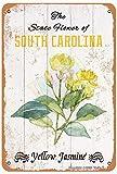 The State Flower of South Carolina Jasmin jaune pour chambre à coucher, salle de bains, jardin, club, magasin, ferme, décoration murale en métal 30,5 x 20,3 cm