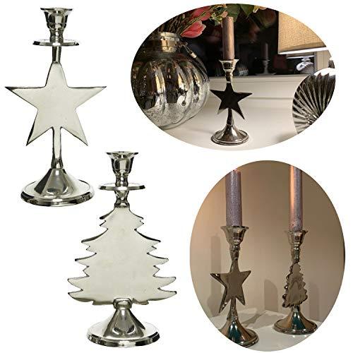 LS-LebenStil 2x Kerzenständer Silber 18cm Set Kerzen-Halter Kerzenleuchter Stabkerzen