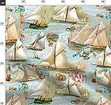 Segeln, Steuerung, Ozeane, Inseln, Landkarten Stoffe -