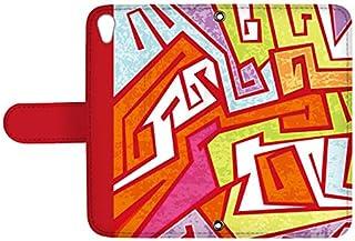 スマQ AQUOS U/AQUOS L SHV37 国内生産 ミラー スマホケース 手帳型 SHARP シャープ アクオス ユー/アクオス エル 【C.レッド】 カラフル 幾何学模様 ami_vd-0156