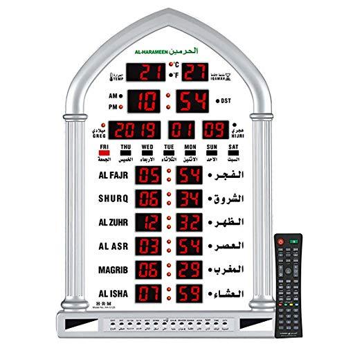ROYAL WIND Muslim Clock Big Size Azan Clock,Led Prayer Clock,Wall Clock,Read Home/Office/Mosque Digital Azan Clock/Multiple Azan Sounds