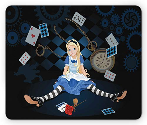 Ambesonne Alice in Wonderland Mouse Pad, Grown Giant Girl Sitting Flying Cards and Rose Checkered Cartoon, Rectangle Non-Slip Rubber Mousepad, Standard Size, Multicolor