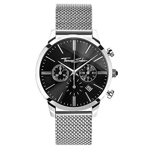 THOMAS SABO Herren Chronograph Quarz Uhr mit Edelstahl Armband WA0245-201-203-42 mm