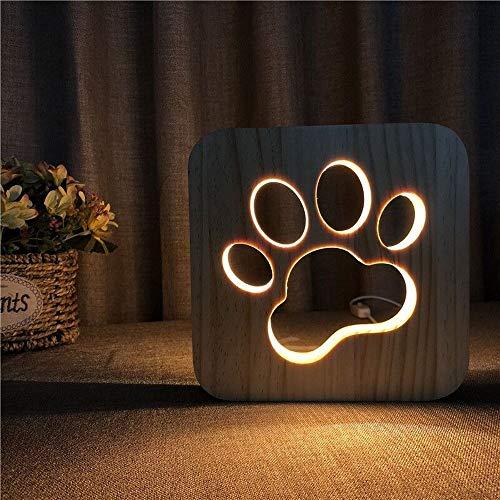 Xjoe Cat's poot Massief Houtsnijwerk en Opengewerkte creatieve tafellamp nieuwe kleine nachtlamp