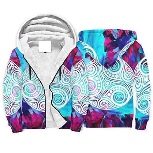 Niersensea Teenager Adult Sherpa Hooded Pullover Jacket Sweatshirts Colourful Viking Totem Red Blue Pattern Hoodie Tops Winter Jacket with Hood and Zip White L