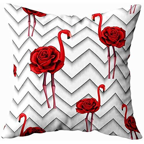 Juli Kussenslopen Trendy Zigzag Lijnen Geborduurde Rode Rozen Flamingo Patroon Textiel Inpakpapier Kussenslopen