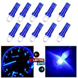 1966 Ford Mustang Accessory Lighting - cciyu 10 Pack Blue 37 58 70 73 74 T5 Diode LED Chips Dashboard Panel Gauge Cigarette lighter Ashtray light Speedometer Odometer Tachometer Instrument Panel LED Wedge Bulbs w/Twist Sockets