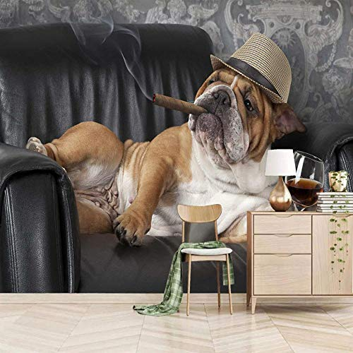 Brick Wall Effect Wallpaper Animal Bulldog Non-Woven Mural 3D Picture Poster Living Room Kids Bedroom Office Modern Minimalist Design for Home Decor 400x280cm