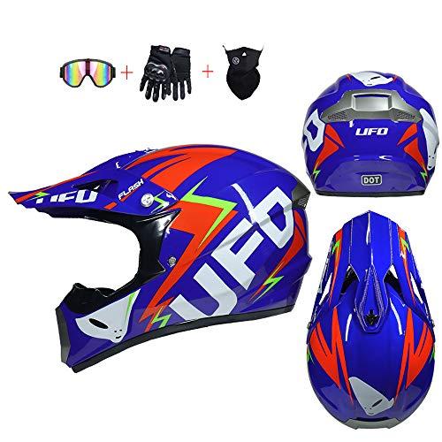 YX Motos para NiñOs Gasolina Casco Motocross Cascos Cross Moto Infantiles Baratos Ropa Nino Traje Integral Bici Hombre Mujer Guantes Bolsas Gafas Quad Enduro Adulto Protecciones Barato Calavera,L