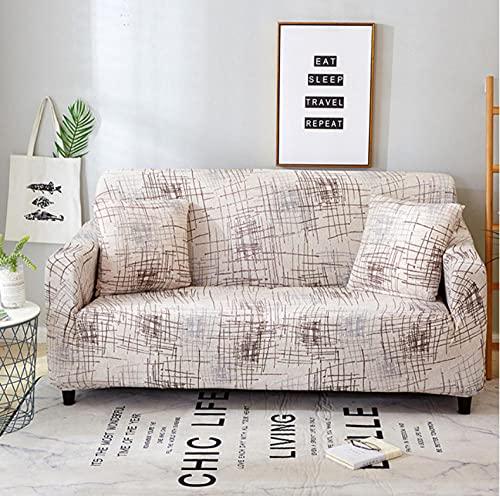 Funda para Sofá Sofas de Salon Mosaico de Líneas Grises Elasticas de 1 2 3 4 Plazas Impresión Floral Universal Funda Cubre Sofas Ajustables,Antideslizante Protector Cubierta de Muebles