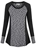 Ninedaily Moisture Wicking Shirts for Women,Camping Tops Funny Graphic Comfy Tops Stretchy Junirs Sporty 80s 90s Cute Blouses Plain Wrinkle Free 3/4 Sleeve Shirts Baseball Tee Extra Long Jersey,8/10