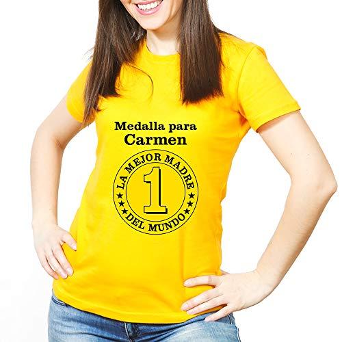 Calledelregalo Regalo para Madres Personalizable: Camiseta 'Medalla a la Mejor Madre' Personalizada con su Nombre y el tuyo/vuestro (Amarilla)