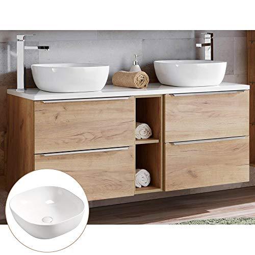 Lomadox Badmöbel Doppel-Waschtisch Set, Unterschrank Wotaneiche Hochglanz weiß, 2 Keramik-Waschbecken, 4 Softclose-Schubkästen, Regal, B/H/T 141/74,5/46 cm