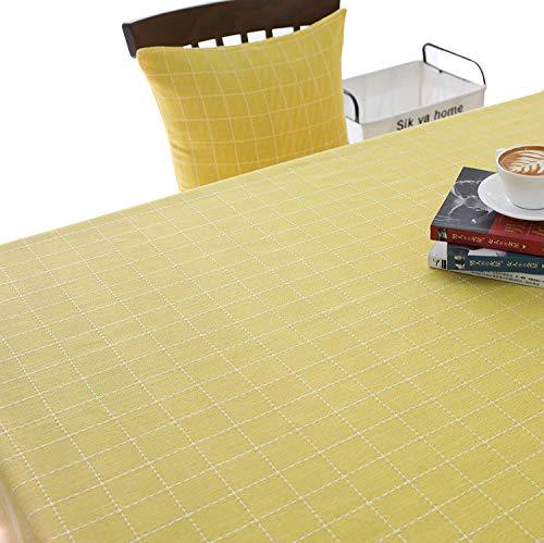 ENCOFT Mantel para Mesa con Borlas Cubierta de Mesa Rectangular Antimanchas en Algodón y Lino Mantel para Comedor Patrón Cuadro, Verde 140x180cm