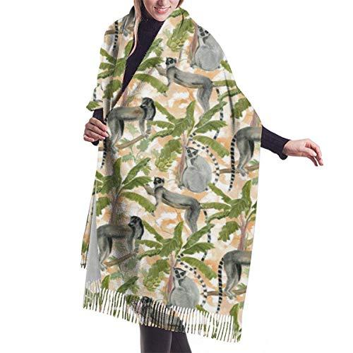 Manta, Tapiz, Accesorios de Vestidos, Bufanda con Flecos, lémures, plátanos, Palmeras, Bufandas cálidas Grandes y largas, Estola de mantón de Pashmina