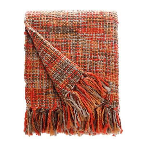 BATTILO HOME Rustykalny domek wiejski narzuta - vintage boho wystrój pokoju koce miękkie przytulne sofa narzuta na łóżko z uroczym frędzlem - 118 x 130 cm (pomarańczowy)