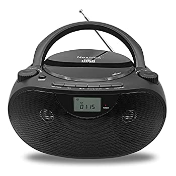 Nextron Portable Bluetooth CD Player Boombox with AM/FM Radio Stereo Sound System Playback CD/MP3/WMA USB & AUX Ports Headphone Jack LCD Display AC/DC Operated