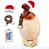 AMIVOO Dinosaur Night Light - Dimmable Dinosaur Egg Lamp with Remote USB Rechargeable 3D Night Light for Kids, Dinosaur Figures Toy Bedside Lamp, Birthday Christmas Gift (Oviraptor - 16 Colors)
