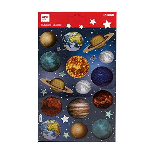 APLI Kids 18558 - Pegatinas infantiles de Planetas con acabado holográfico. Incluye 1 hoja con 15 pegatinas de adhesivo permanente fabricadas en PET