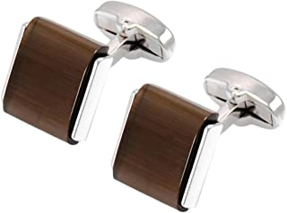 Brown Opal Stone French Cufflinks Business Wedding Shirt Brass Cuff Links
