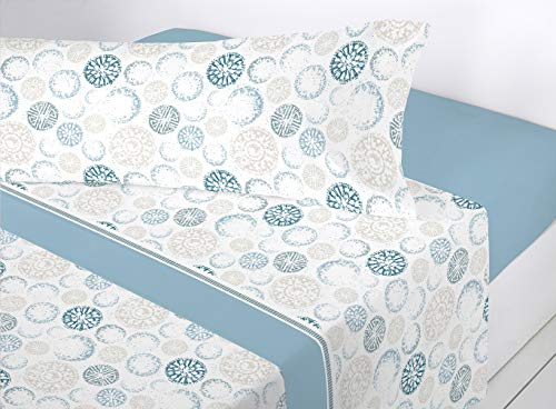 SEDALINNE - Juego sábanas coralina Selene. Cama 150 cm. Azul
