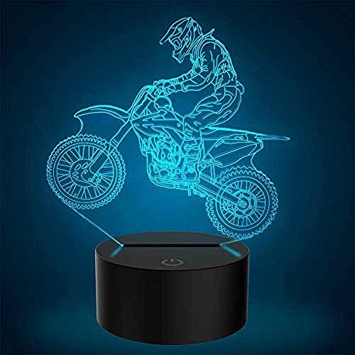 Novedad 3D Illusion Lamps Motocicleta LED Night Lights USB 7 Colores Sensor Lámpara de escritorio para Outdoor Sports Lover Collection