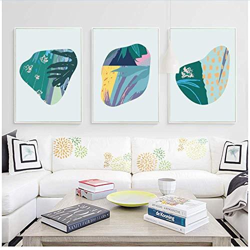 XingChen Wandbilder 3x20x30cm ohne Rahmen Modern Minimalistic Abstract Bunte Steinformen Kunstdruck Poster Bild Wand Büro Schlafzimmer Wohnkultur