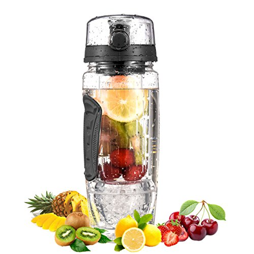 OMORC Fruit Infuser Water Bottle with Detachable Ice Gel Ball 1L...