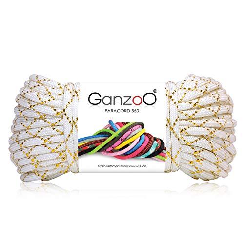 Ganzoo Paracorde 550 Corde Glitter pour Bracelet Laisse Collier Nylon Corde 30 Mètres Couleur Blanc Or