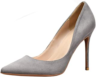 Zanpa Basic Women Suede Pumps Stiletto Heels Office Dress Shoes Pointed Toe Cocktail Heels Evening Party Shoes Grey Size 34