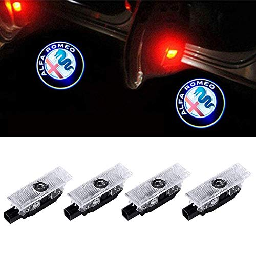 Car LED LOGO Door Lights Projector Ghost Lights puddle Welcome Emblem Lamp Lighting Ghost Shadow For Alfa Romeo Compatible Giulia (2017-2018); Stelvio (2017-2018) Car Accessories(4-Pack)