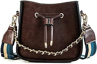 TOOGOO Ladies Bucket Bag Retro Pu Leather Shoulder Bag Simple Chain Messenger Bag Letter Handbag New Chic Bag Brown
