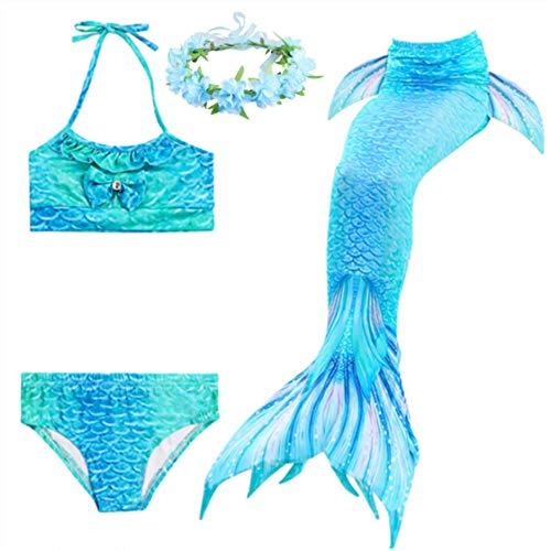 LDFWAY Kinder Mädchen Meerjungfrauenschwanz Badeanzug Bikini Sets Bademode mit Blumengirlande Stirnband Gr. Small, B0101b