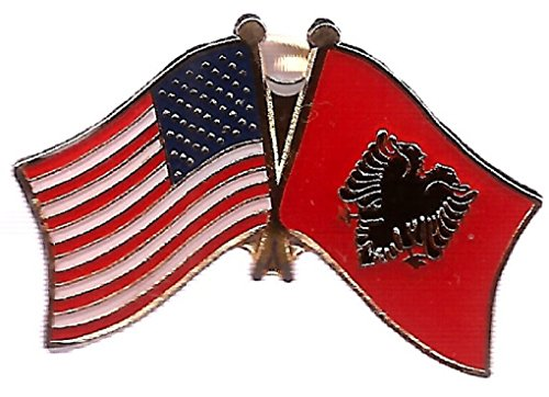 Pack of 3 Albania & US Crossed Flag Lapel Pins, Albanian and American Friendship Pin Badge