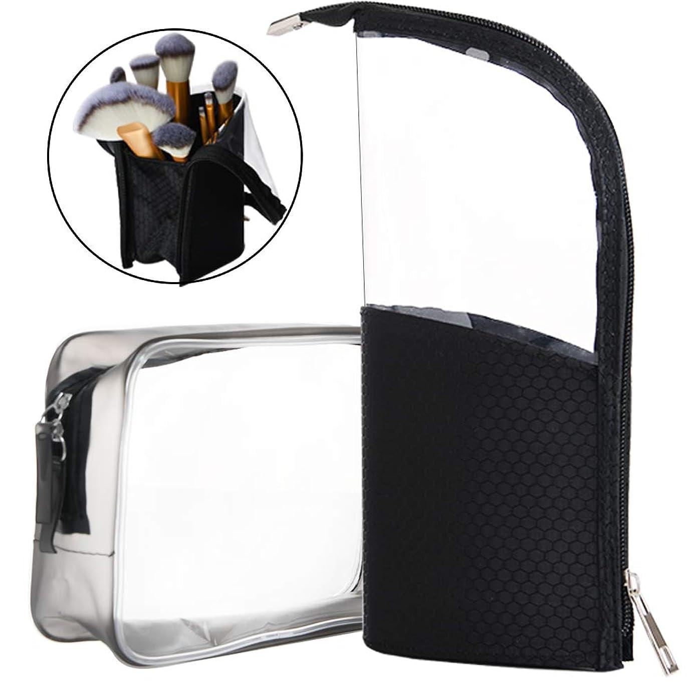 メイクブラシケース ペンボックス ブラシポーチ コスメ収納 化粧筆収納 化粧品収納ボックス 旅行メイクブラシ収納 ペン立てスタンド 化粧品入れ 透明なPVCジッパーバッグ 大容量透明化粧品ケース