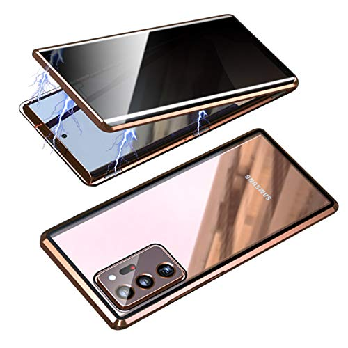 RANYOK Compatible Galaxy Note 20 Ultra (6.9 inch) Privacy Magnetic Case, Double-Sided Tempered Glass with Built-in Screen Protector 360° Full Body Metal Frame Cover for Note 20 Ultra 5G (Bronze Gold)