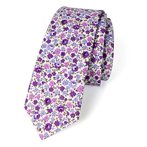 Spring Notion Men's Cotton Printed Floral Skinny Tie - White/Purple