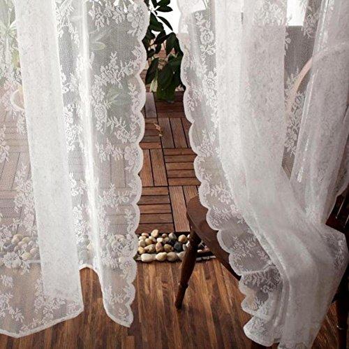 MUZIDP Tenda Pura di Pizzo Ricamato,Soggiorno Camera da Letto Studio Drappo Pannello Finestra Bianca Peso Leggero Semi-Velato Soft Schermo Draperie 1pcs-A W280xH300cm(110x118inch)