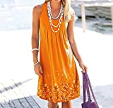 JGHGO Women's Boho Casual Sleeveless Floral Mini Dress Summer Beach Dresses Tank Dress Fashion Sundress Loose Beach Tank Dress (4XL,Orange)